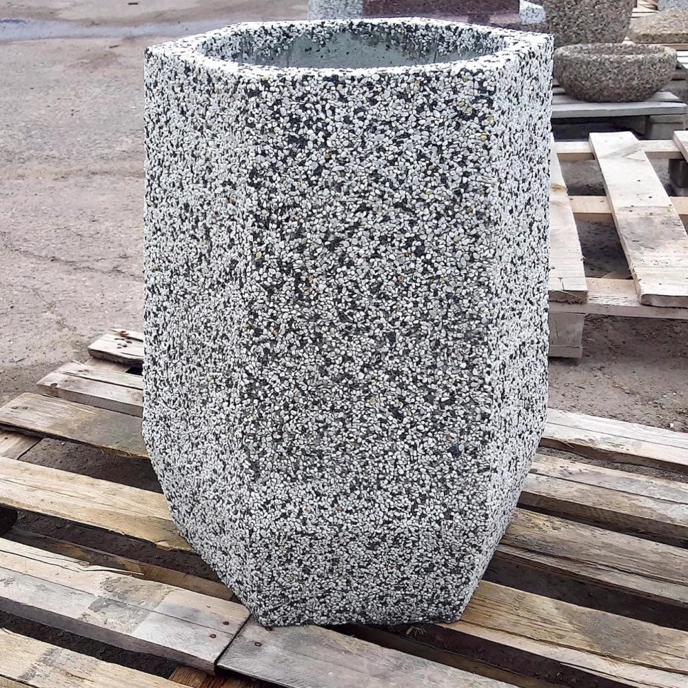 Фото - Урна бетонная Брест мини (Мрамор шахматка)