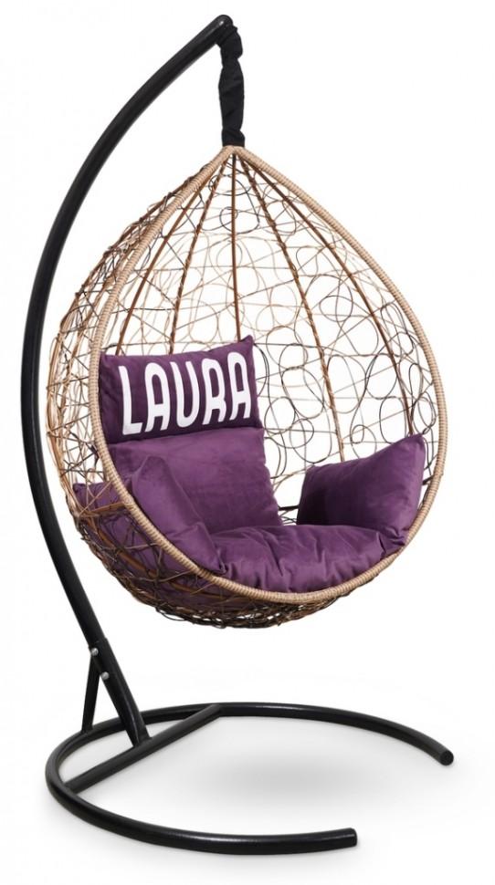 Фото - Подвесное кресло SEVILLA VELOUR горячий шоколад + каркас