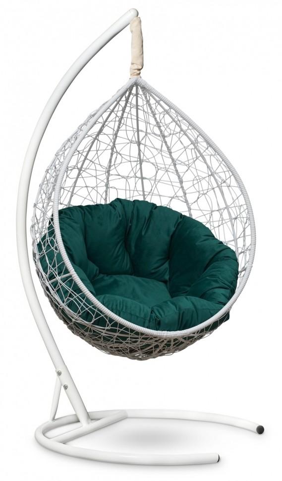 Фото - Подвесное кресло SEVILLA VERDE VELOUR белое + каркас