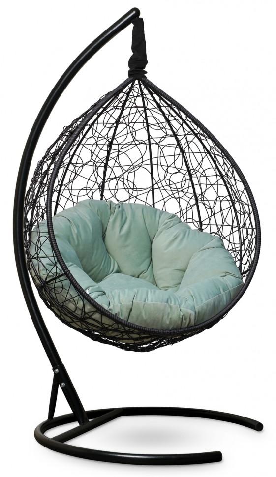 Фото - Подвесное кресло SEVILLA VERDE VELOUR черное + каркас